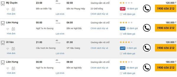 Xe khách Sài Gòn đi Hậu Giang