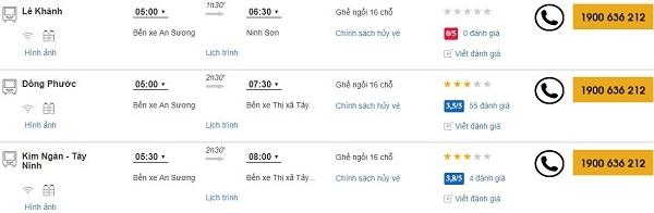 Xe khách Sài Gòn đi Tây Ninh
